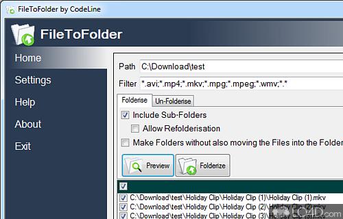 FileToFolder Screenshot