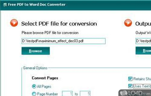 Free PDF to Word Doc Converter Screenshot