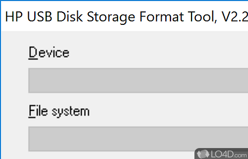 HP USB Disk Storage Format Tool Screenshot