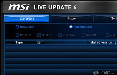 MSI Live Update Screenshot