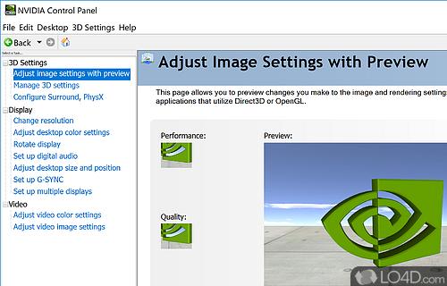 NVIDIA Display Control Panel Screenshot
