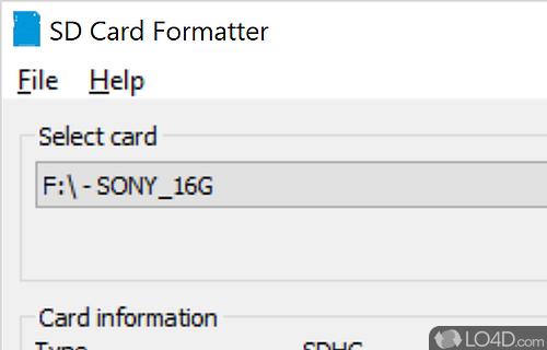 SD Card Formatter Screenshot