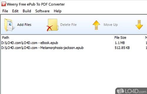 Weeny Free ePub to PDF Converter Screenshot