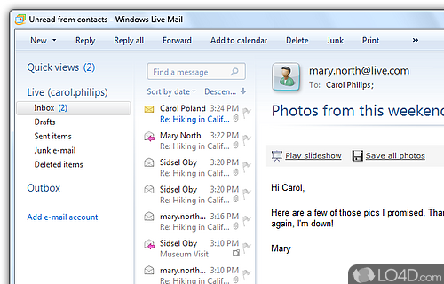 Windows Live Mail Screenshot