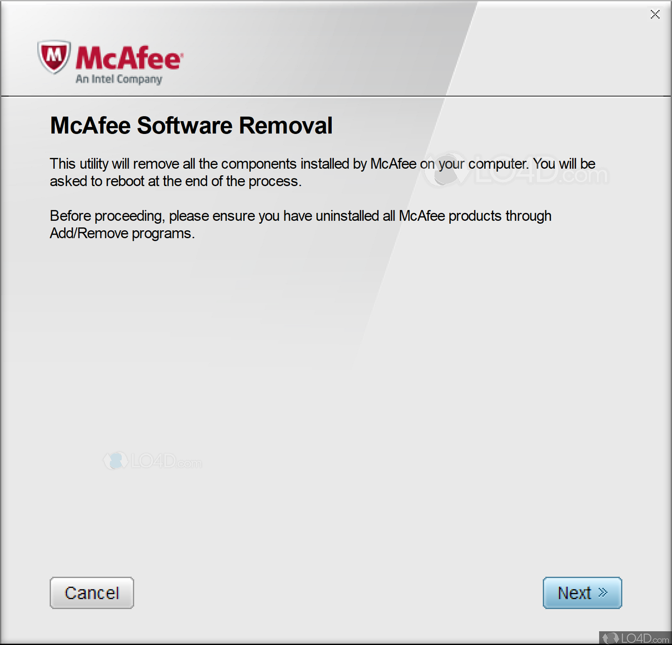 Mcafee removal tool mcpr exe free download.