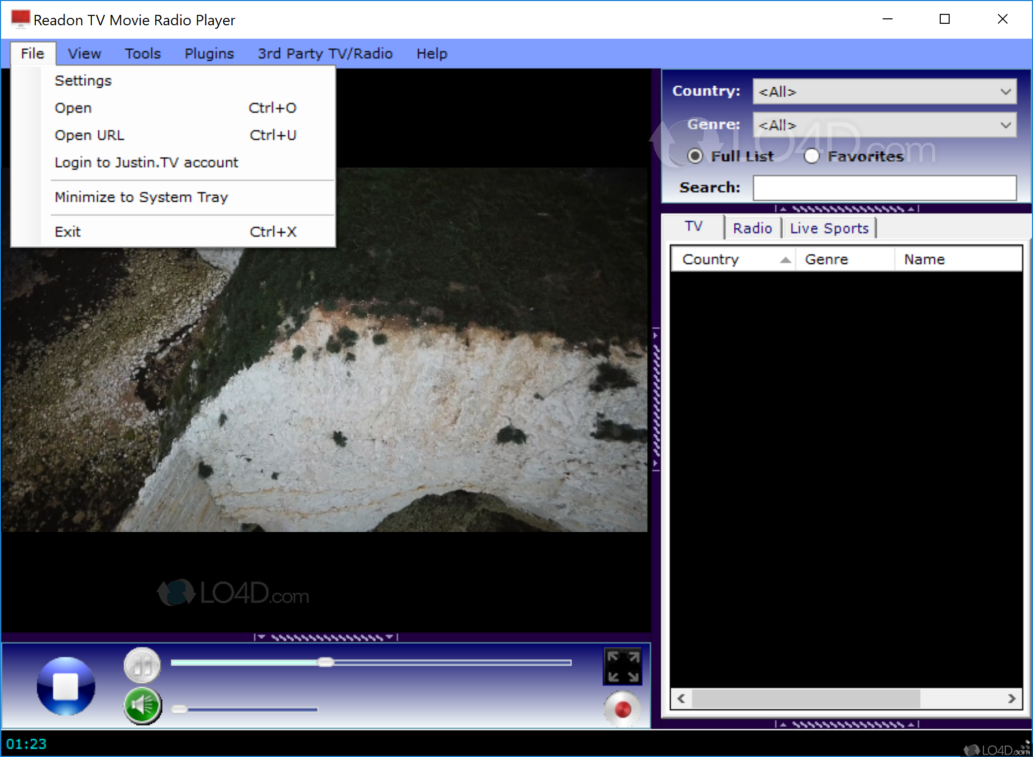 readon TV player for Windows 8 - LO4D com