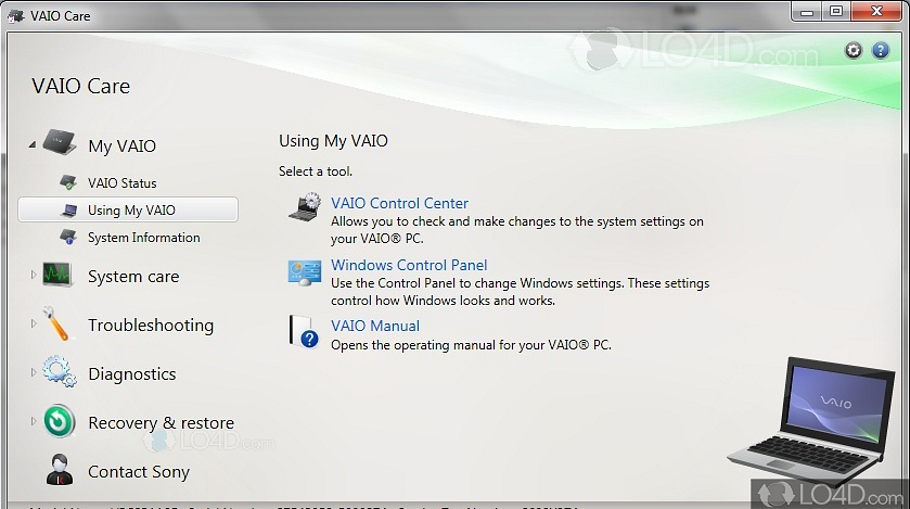 How to enable/disable battery care function on sony vaio to.