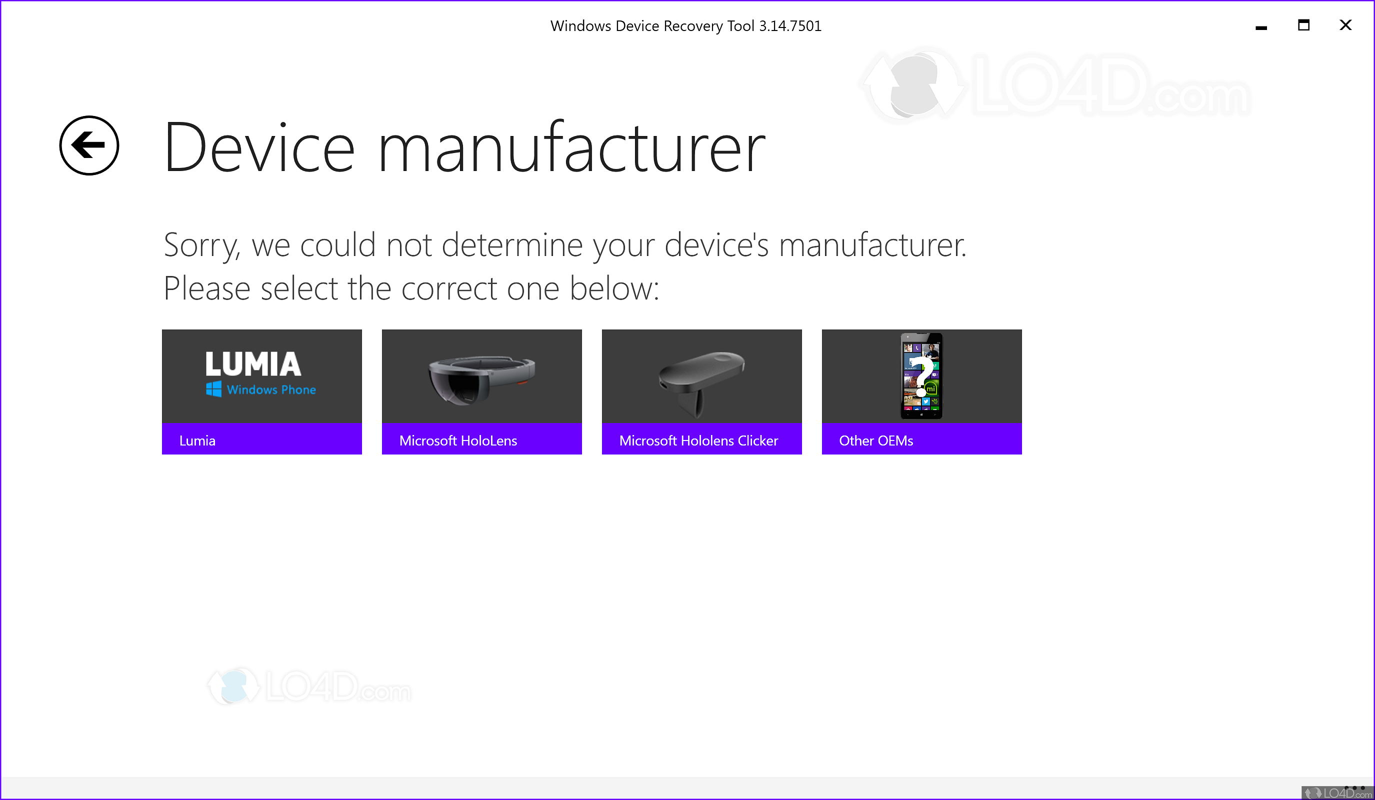 Windows Phone Recovery Tool - Screenshots