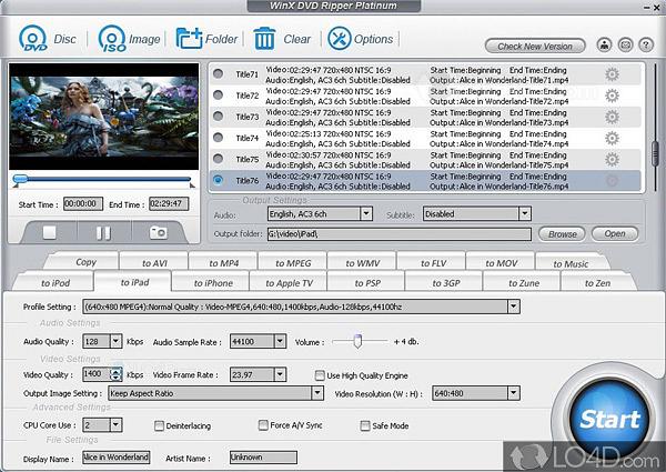 WinX DVD Ripper Platinum 7 5 0 - LO4D com